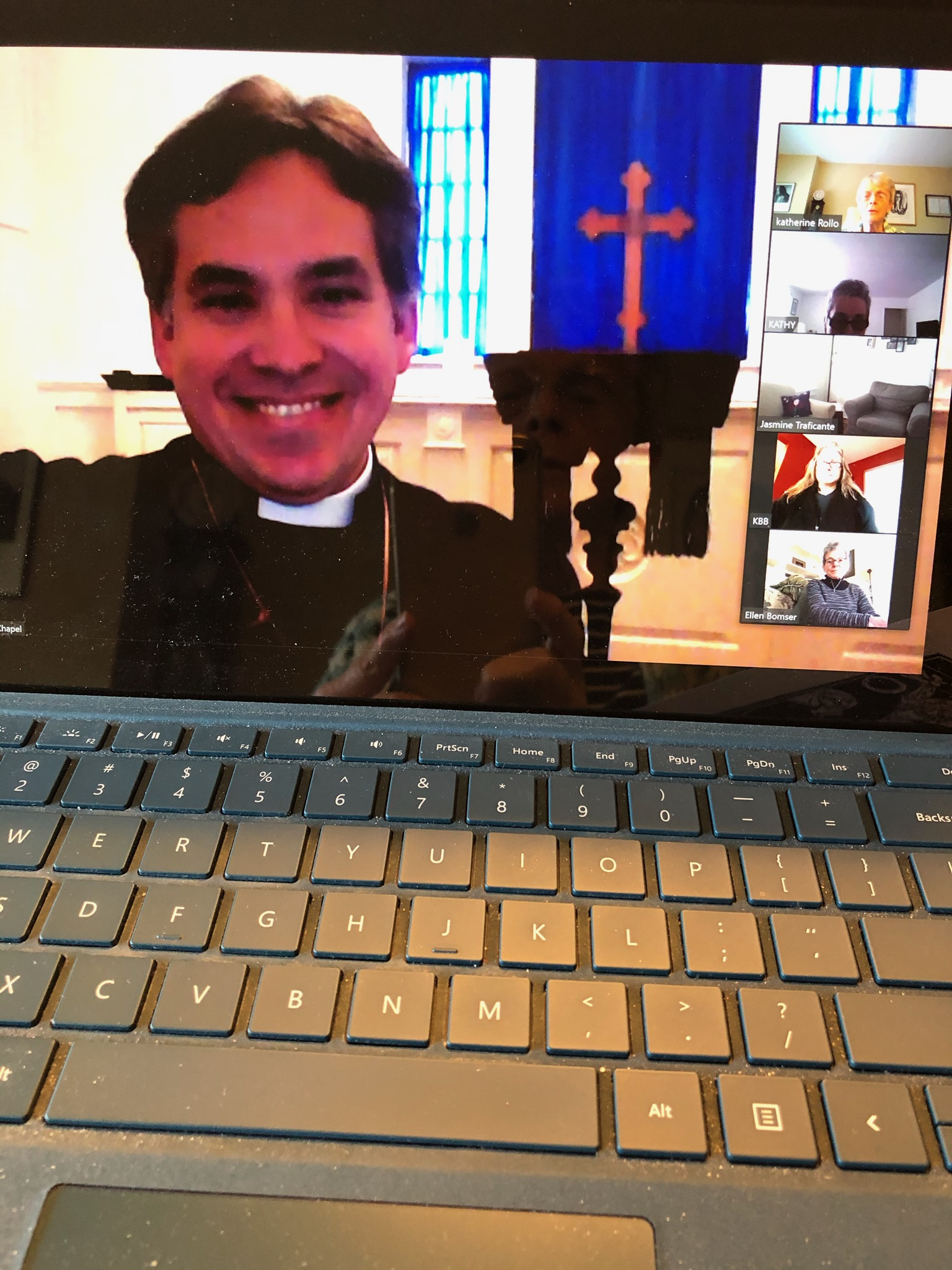 Before Virtual Stations of The Cross (Father Jerry knows Holy Week will soon be done.)