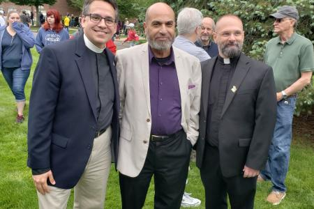 Father Jerry, Dr. Montster Awad and Father Joe D'Amico at Memorial Day 2018